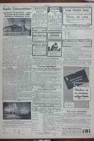 Sahife 4 N ABŞAM 1 Ekim 1943 Ingiliz Üniversiteleri |RADYOJ| İğ Akşam an peg Abone bedeli Ingilterede 17 üniversite vardır,