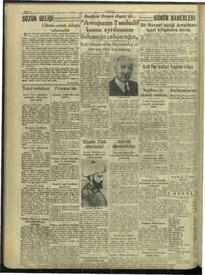 Başkan Benes diyor Ri... Avrupanın 2 Lüksün sebeb kısma ayrılmasını 8 a: : ya İnsanın ayakta kalmasına sebeb oldu: Alman...