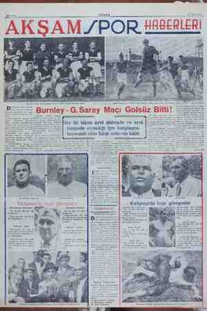 A ZPOR HABERLERİ ay mİ Ri > lafasaray maçında İngiliz kalecisinin bir kurtarışı - Dünkü Burnley — esiri takımı ap berabere