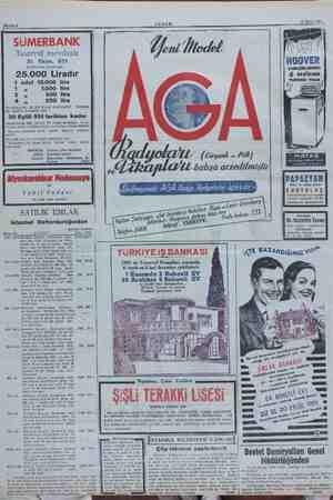 ahife 8 17 Eylül 1951 SUMERBANK Tasarruf mevduatı 951 Koğldesinin ikramiyesi 25.000 Liradır 1 adet 10.000 4 Ve ayrıca 550.-