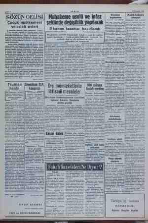 rl 177 Temmuz 1952 AKŞAM SÖZÜN GELİŞİ  Çocuk mahkemesi o Kadıköyünde piantısı ii (Baştarafı 1 inel sahifede) Muhakeme usulü