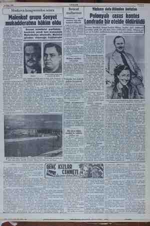 e Ge 19 Ekim 1952 AKŞAM Sahife lek, Moskova kongresinden sonra Malenkof grupu Sovyet mukadderatına hâkim oldu Nevyork 18 (AP)