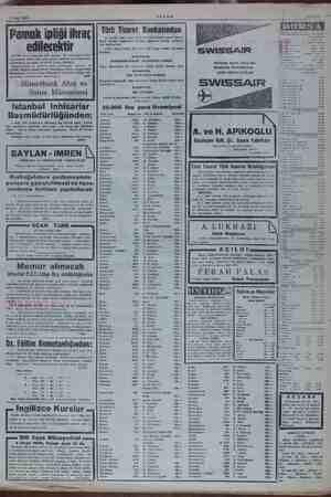 1 Ocak 1955 AKŞAM Pamuk ipliği ihraç edilecektir ea dr edileceği ilân olun: araya kadar a dahil) tek katlı ae Eiki ii...