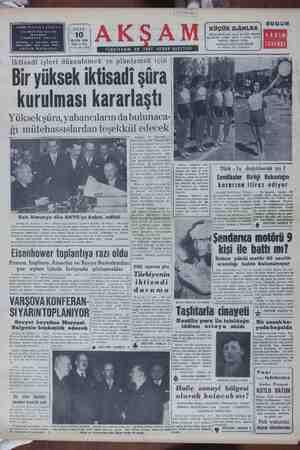 SAHİBİ: KÂZIMŞ.DERSAN b TC İÇ Mesul Müdür SALI MAYIS 1955 Flatı 15 Krş. Lei MATBAAS Yıl 37 -No. 13149 Iktisadi işleri...