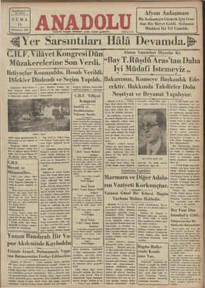 Anadolu Gazetesi 11 Ocak 1935 kapağı