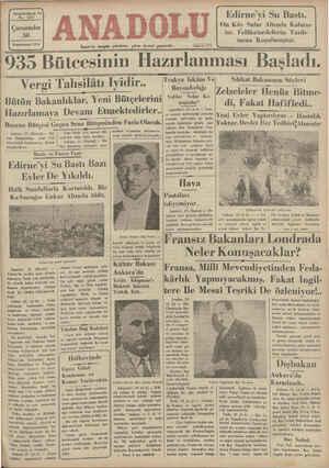 """Yirmidördüncü Yıl No. 6127 Çarşamba 30 Kânunusanl 1935 İzmir'de hergün sabahları çıkar siyasal gazetedir. """" aöi ldkh A6 935"""