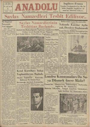 Anadolu Gazetesi 3 Şubat 1935 kapağı