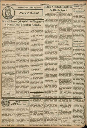 (KATDOTY, TTROKEAMM I /l Hitler Ne Istedi,İngiltereLehistan Dış Anadolu'nun Tarihi Tefrikası ! | p İ 4 — Wonra nihayet...