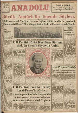 ,y A 357N5'E İzmir'de hergün sabahları çıkar siyasal gazetedir. m ;——J Buyuk Atdturk ün onemlı Soylevı. ..... SAA KA AA ZAMAR Ingiliz ! Kabinesinde ) (İDağicik L Na