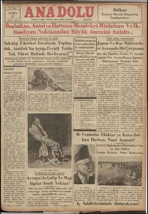 Vlıılhulı:l Yıl İzmir'de hergüu sabahları çıkar, siyasal gazetedir. Bozanönü - Isparta şube hattı da açıldı Inkılâp Fikirleri