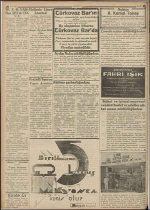 "40 2 8/ 936 W. F. H. VAN- Der ZEE& CO. A | DEUTSCHE LEVANTE LİNİE! ""ARTA,, vapuru ül- den 9 eylüle kadar A? Dİ z HAMBURG,..."