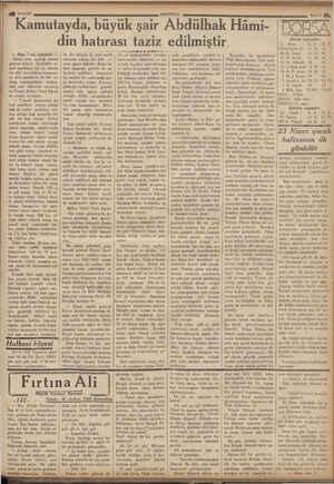 4 18/41931 Kamutayda, büyük şair Abdülhak Hâmi- ANADOLU din hatırası taziz edilmiştir — Başı | nci sahifede — İkinci celse