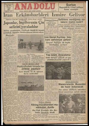 Yirmi yedinci yıl No. 7291 Ağustos 937 Hergün sabahları çıkar, siyasal gazetedir. Telefor Suriye Başvekili B. Cemil istifaya