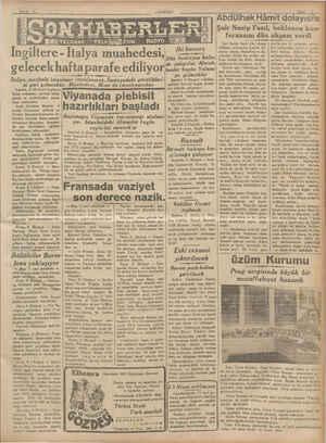 lgiltere - İtalya muahedesi, ... gelecek hafta parafe ediliyor TELEŞİYİFON İtalya, muahede imzalanır imzalanmaz,...