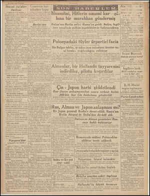 18 Eylöl 1939 Paz: Sovyet kıt'aları ilerliyor — Baştarafı 1 nci Sahifede — ket emri üzerine bugün Misk, Paloç, Preskurat ve