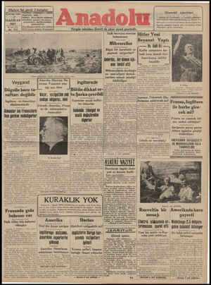 Anadolu Gazetesi 7 Haziran 1941 kapağı