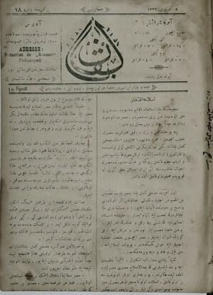 Balkan (Filibe) Gazetesi 18 Ağustos 1906 kapağı