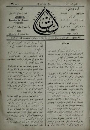 SOBRANYA - 1 - Mah-ı cari-i Efrencinin ikinci geçen Pencşenbe günü alafranga saat ikiyi kırk beş geçerek ve cümle nüzzar...