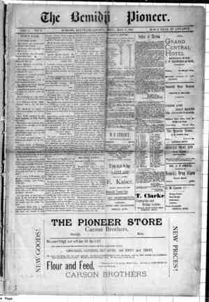 Bemidji Pioneer Gazetesi 7 Mayıs 1896 kapağı