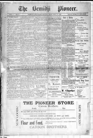Bemidji Pioneer Gazetesi 14 Mayıs 1896 kapağı