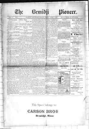 Bemidji Pioneer Gazetesi 1 Nisan 1897 kapağı