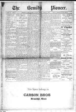 Bemidji Pioneer Gazetesi 8 Nisan 1897 kapağı