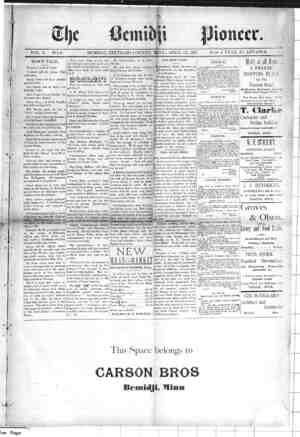 Bemidji Pioneer Gazetesi 22 Nisan 1897 kapağı