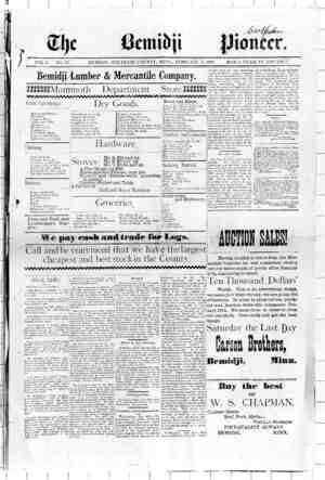 Bemidji Pioneer Gazetesi 3 Şubat 1898 kapağı