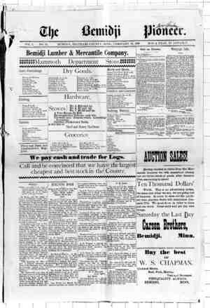 Bemidji Pioneer Gazetesi 10 Şubat 1898 kapağı