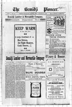 Bemidji Pioneer Gazetesi 19 Ocak 1899 kapağı