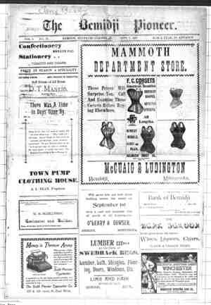 Bemidji Pioneer Gazetesi 7 Eylül 1899 kapağı