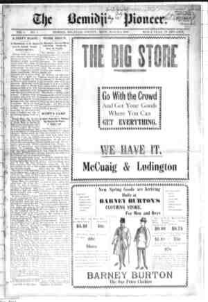 Bemidji Pioneer Gazetesi 8 Mart 1900 kapağı