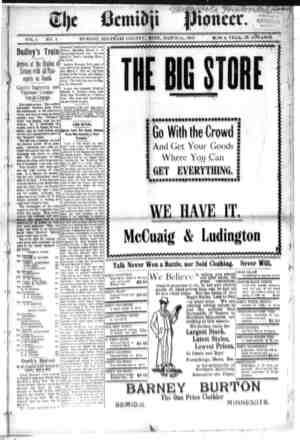Bemidji Pioneer Gazetesi 15 Mart 1900 kapağı