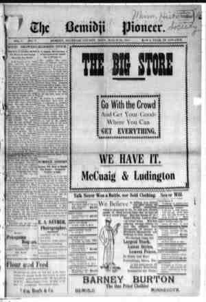 Bemidji Pioneer Gazetesi 22 Mart 1900 kapağı
