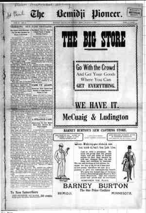 Bemidji Pioneer Gazetesi 29 Mart 1900 kapağı
