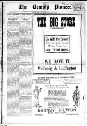 Bemidji Pioneer Gazetesi 5 Nisan 1900 kapağı
