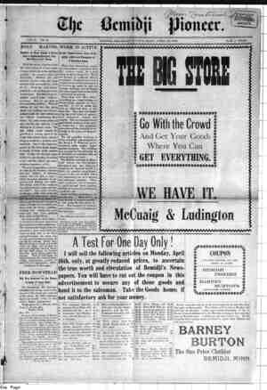 Bemidji Pioneer Gazetesi 12 Nisan 1900 kapağı