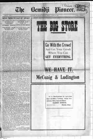 Bemidji Pioneer Gazetesi 19 Nisan 1900 kapağı