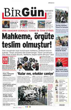 Birgün Gazetesi 24 Şubat 2012 kapağı