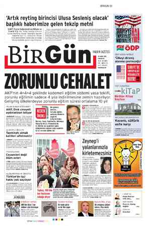 Birgün Gazetesi 25 Şubat 2012 kapağı