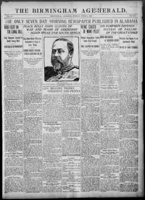 Birmingham Age Herald Gazetesi 2 Haziran 1902 kapağı