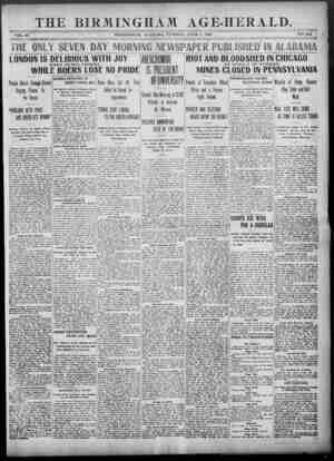 Birmingham Age Herald Gazetesi 3 Haziran 1902 kapağı