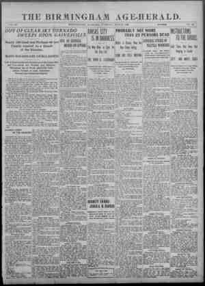 THE BIRMINGHAM AGE-HERALD. VOL. 80 BIRMINGHAM, ALABAMA, TUESDAY, JUNE 2. 19#3 , 10 PAGES NO. 28 OUT OT CLEAR SKY TORNADO...