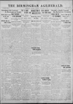 _THE BIRMINGHAM AGE-HERALD. ___ VOLUME XXXVII BIRMINGHAM, ALABAMA, SATURDAY, SEPTEMBER *21, 1907. 10 PAGES. NUMBER 138...