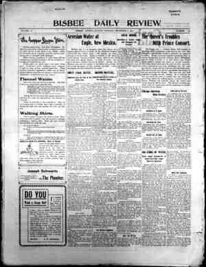 Bisbee Daily Review Gazetesi 8 Aralık 1901 kapağı