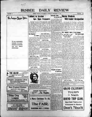 Bisbee Daily Review Gazetesi 25 Aralık 1901 kapağı