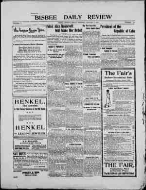 Bisbee Daily Review Gazetesi 3 Ocak 1902 kapağı