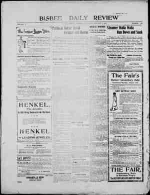 Bisbee Daily Review Gazetesi 4 Ocak 1902 kapağı