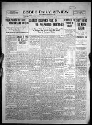 yX. -kX '$&j0&' BISBEE DAILY REVIEW EIGHT PAGES. PUBLISHED IN THE BEST MINING CITY ON EARTH J J FULL ASSOCIATED PRESS REPORT