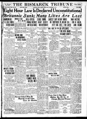 The Bismarck Tribune Gazetesi 22 Kasım 1916 kapağı